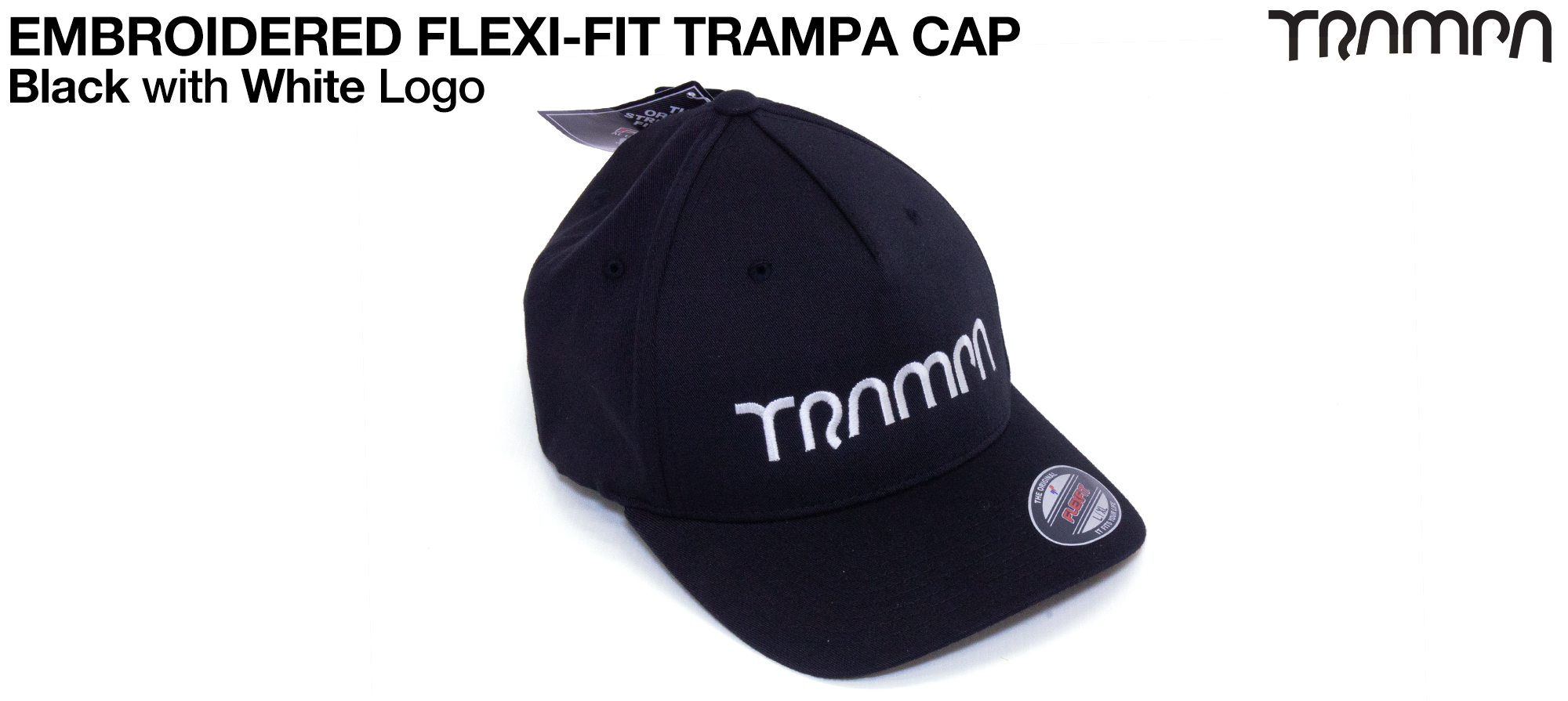 BLACK FLEXI-FIT Baseball Cap with WHITE logo embroidered