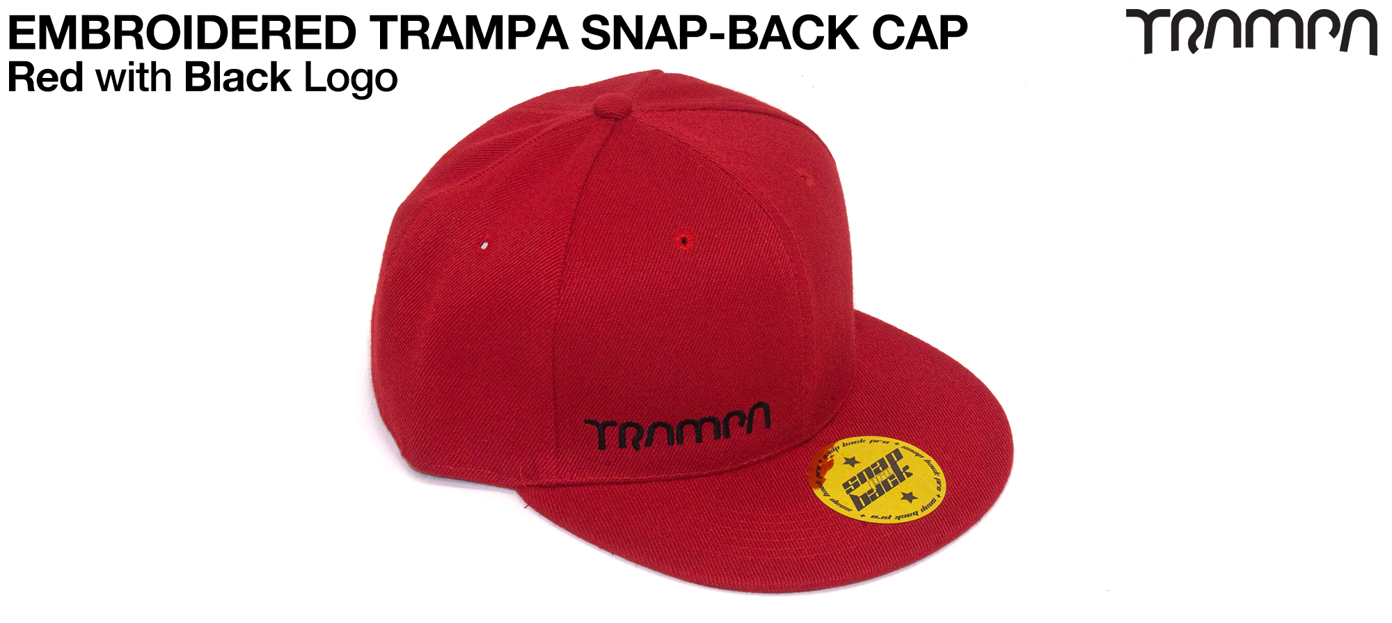 RED SNAPBACK Cap with BLACK logo embroidered