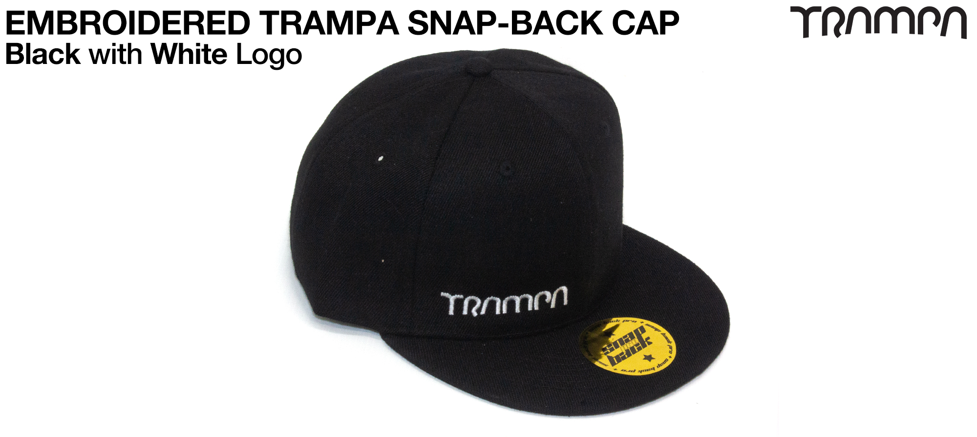 BLACK SNAPBACK Cap with BLACK logo embroidered