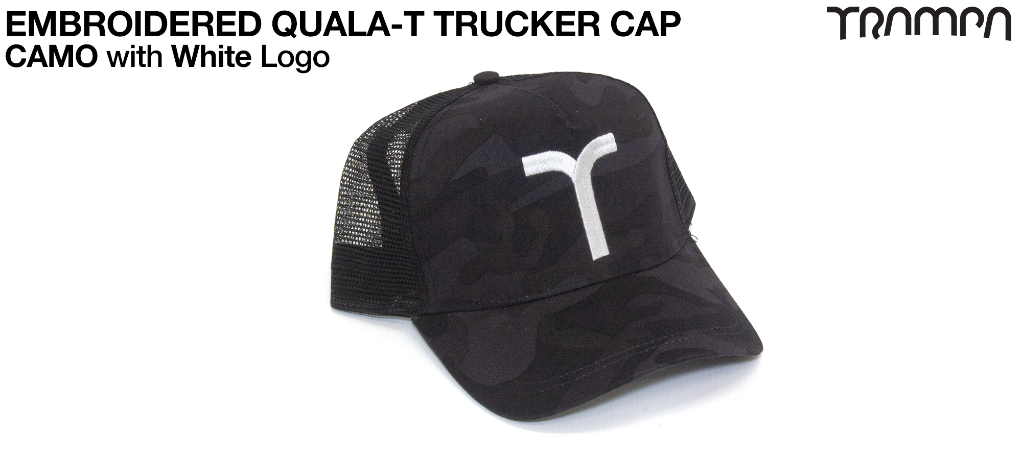 CAMO TRUCKER Cap with WHITE QUALA-T logo embroidered