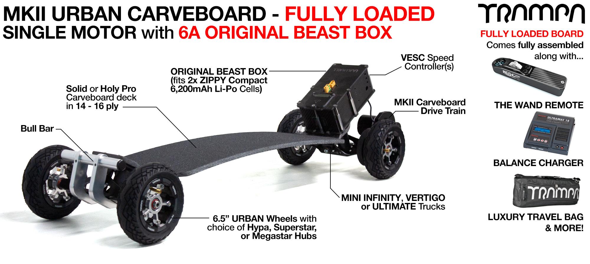 MkII TWIN 160Kv Motor TRAMPA Electric URBAN Carveboard with 12A BEAST Box, VESC HD-60T - Custom Build