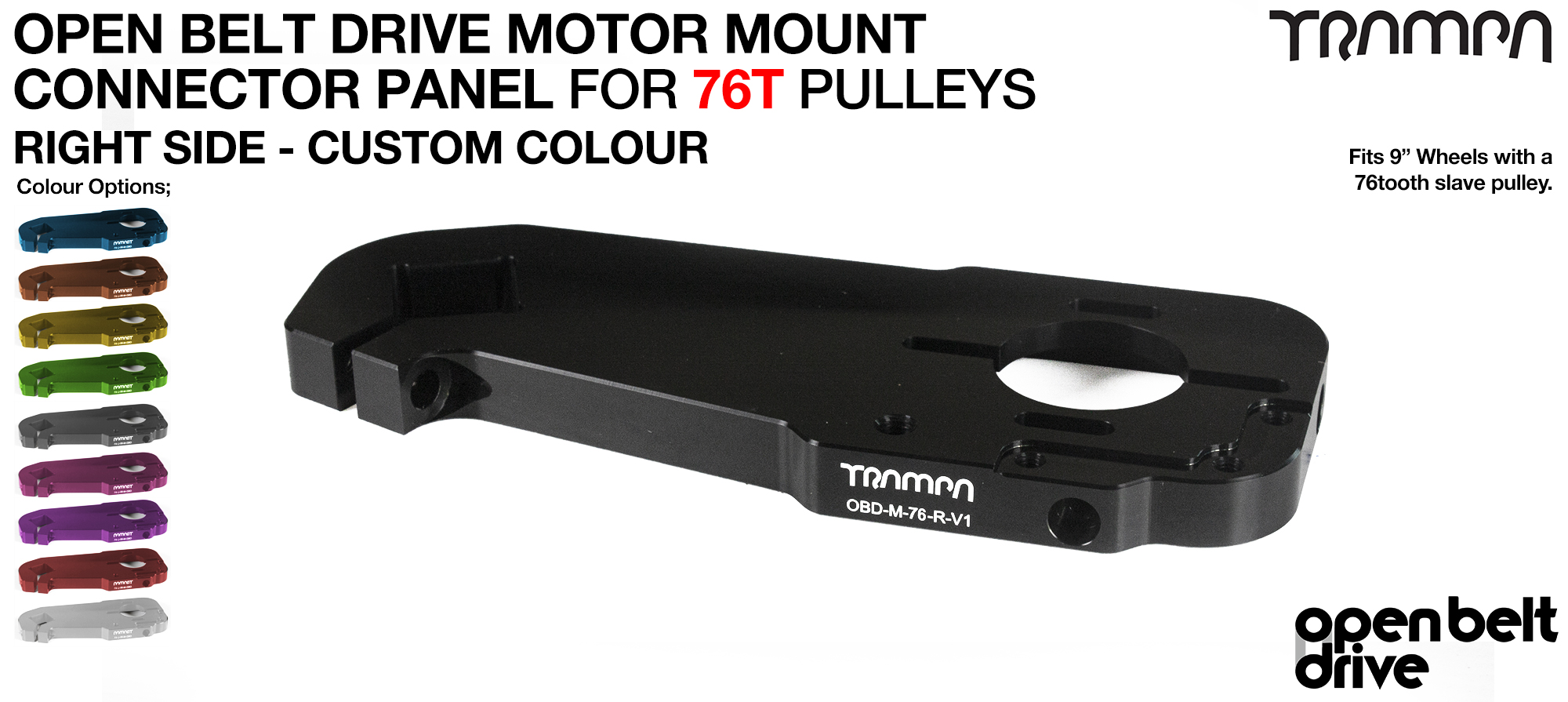 OBD Motor Mount Connector Panel for 76 tooth Pulleys - GOOFY