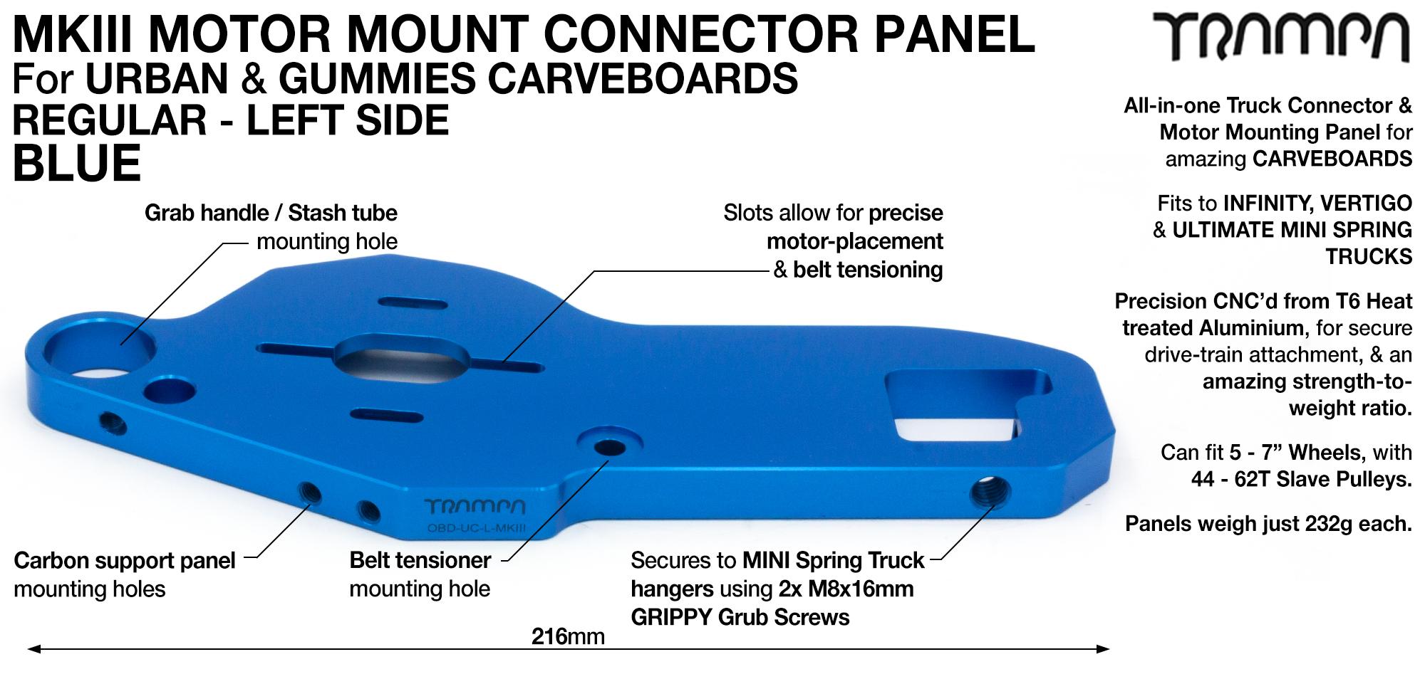 MkII URBAN CARVE Truck MOTOR MOUNT T6 Aluminium Anodised BLUE - REGULAR