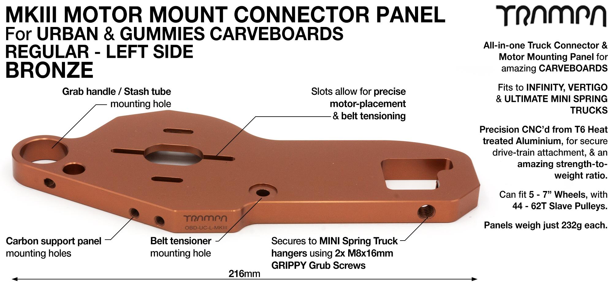 MkII URBAN CARVE Truck MOTOR MOUNT T6 Aluminium Anodised BRONZE - REGULAR