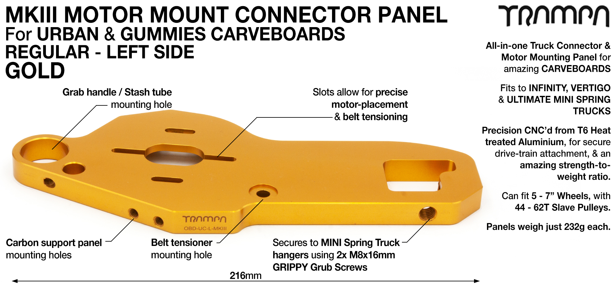 MkIII CARVE Truck Motor Mount T6 Aluminium Anodised - REGULAR GOLD