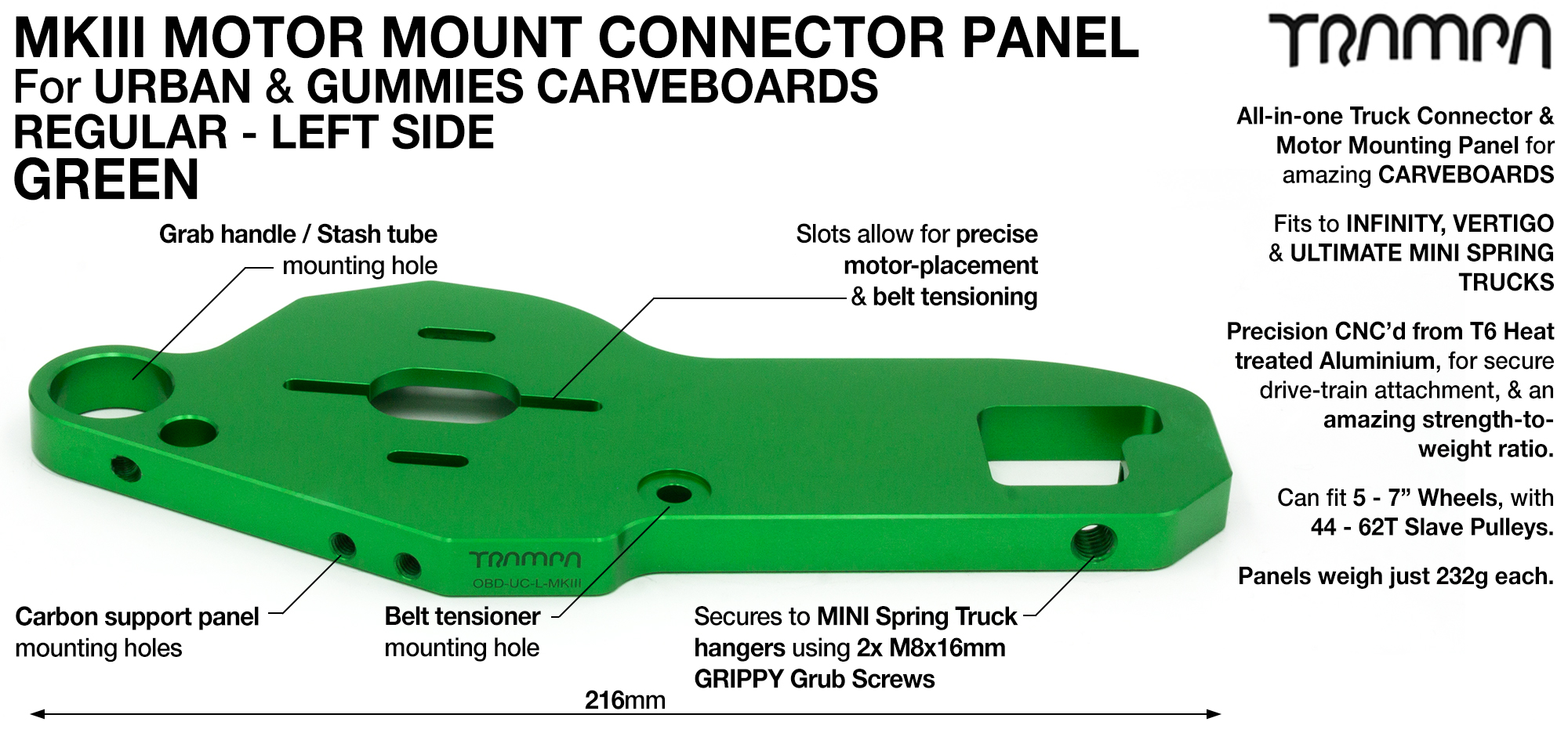 MkIII CARVE Truck Motor Mount T6 Aluminium Anodised - REGULAR GREEN