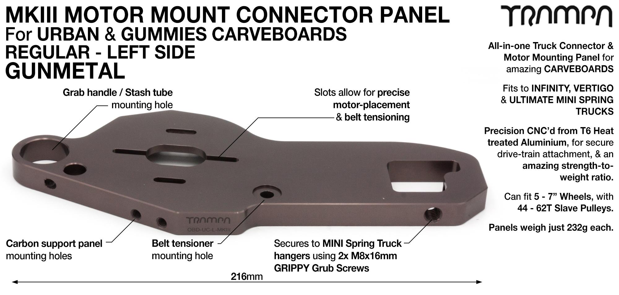 MkIII CARVE Truck Motor Mount T6 Aluminium Anodised - REGULAR GUNMETAL