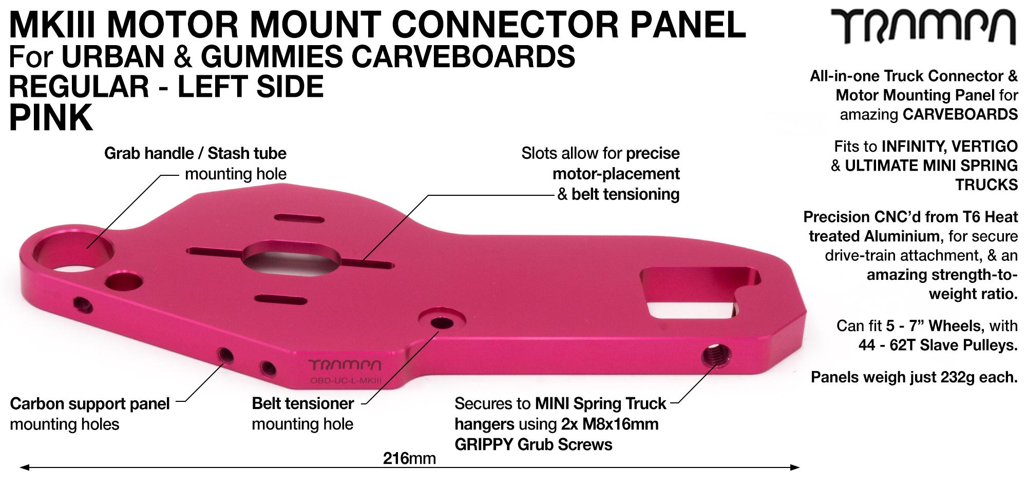 MkIII CARVE Truck Motor Mount T6 Aluminium Anodised - REGULAR PINK