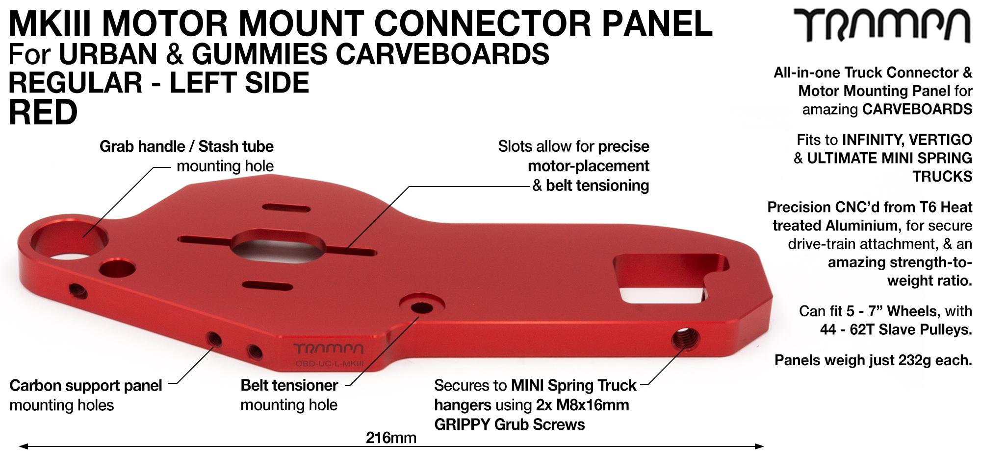 MkIII CARVE Truck Motor Mount T6 Aluminium Anodised - REGULAR RED