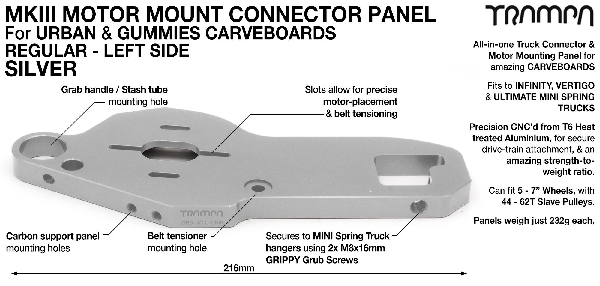 MkIII CARVE Truck Motor Mount T6 Aluminium Anodised - REGULAR SILVER