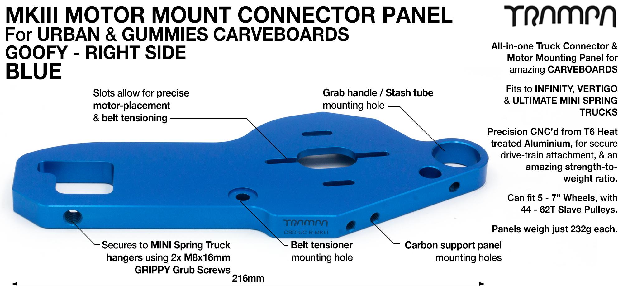 MkIII CARVE Truck Motor Mount T6 Aluminium Anodised - GOOFY BLUE