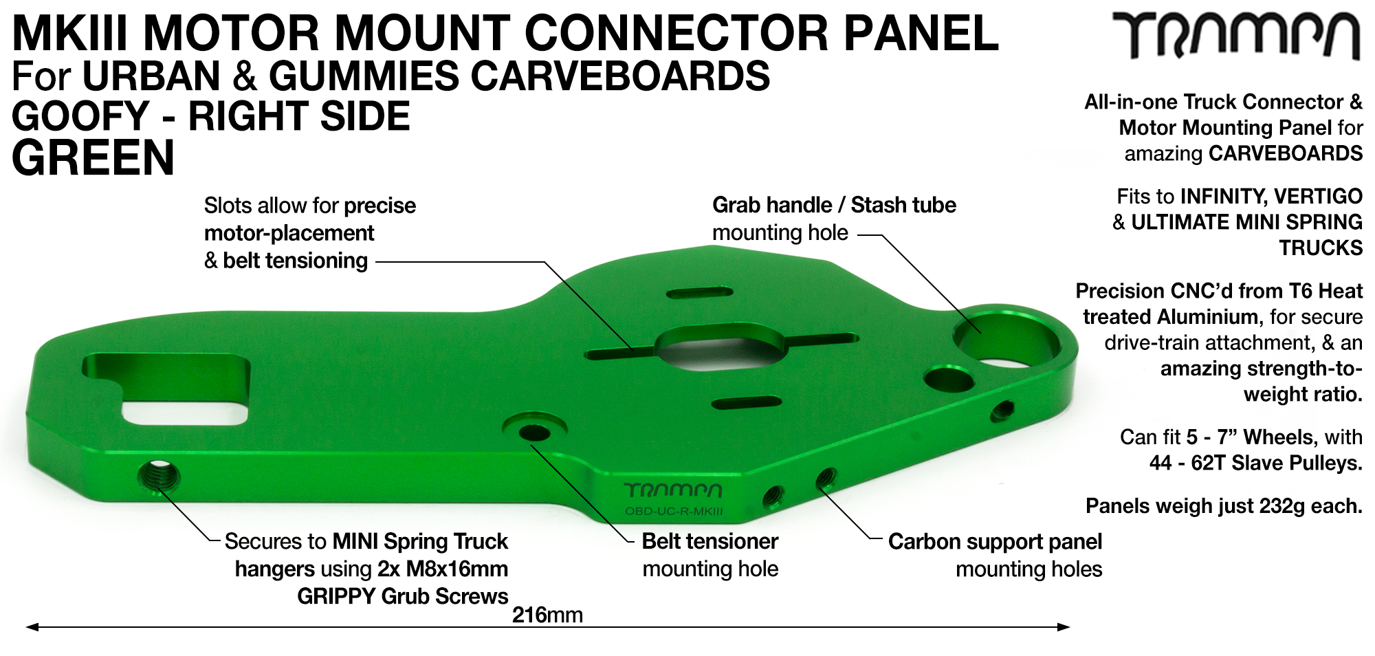 MkIII CARVE Truck Motor Mount T6 Aluminium Anodised - GOOFY GREEN