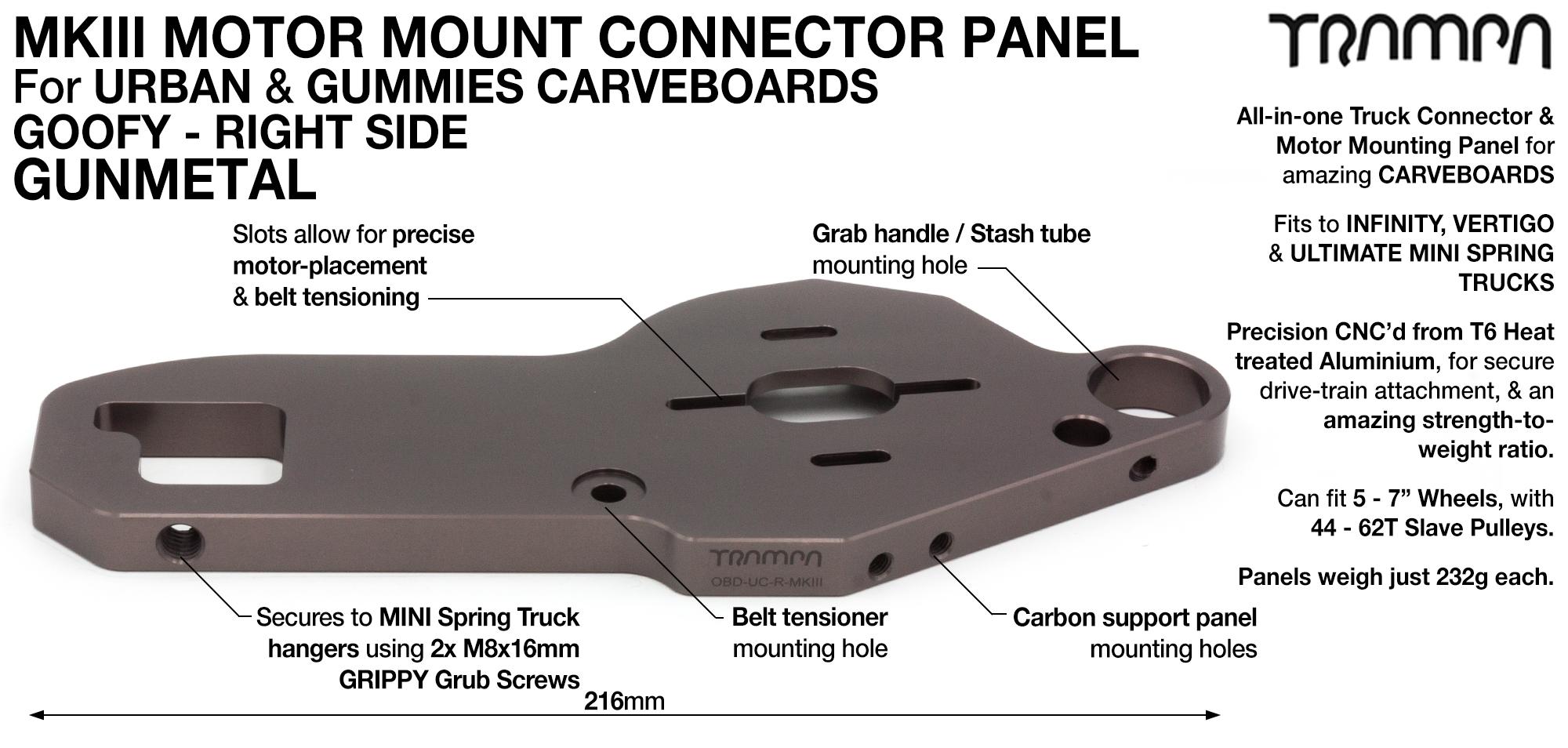 MkIII CARVE Truck Motor Mount T6 Aluminium Anodised - GOOFY GUNMETAL