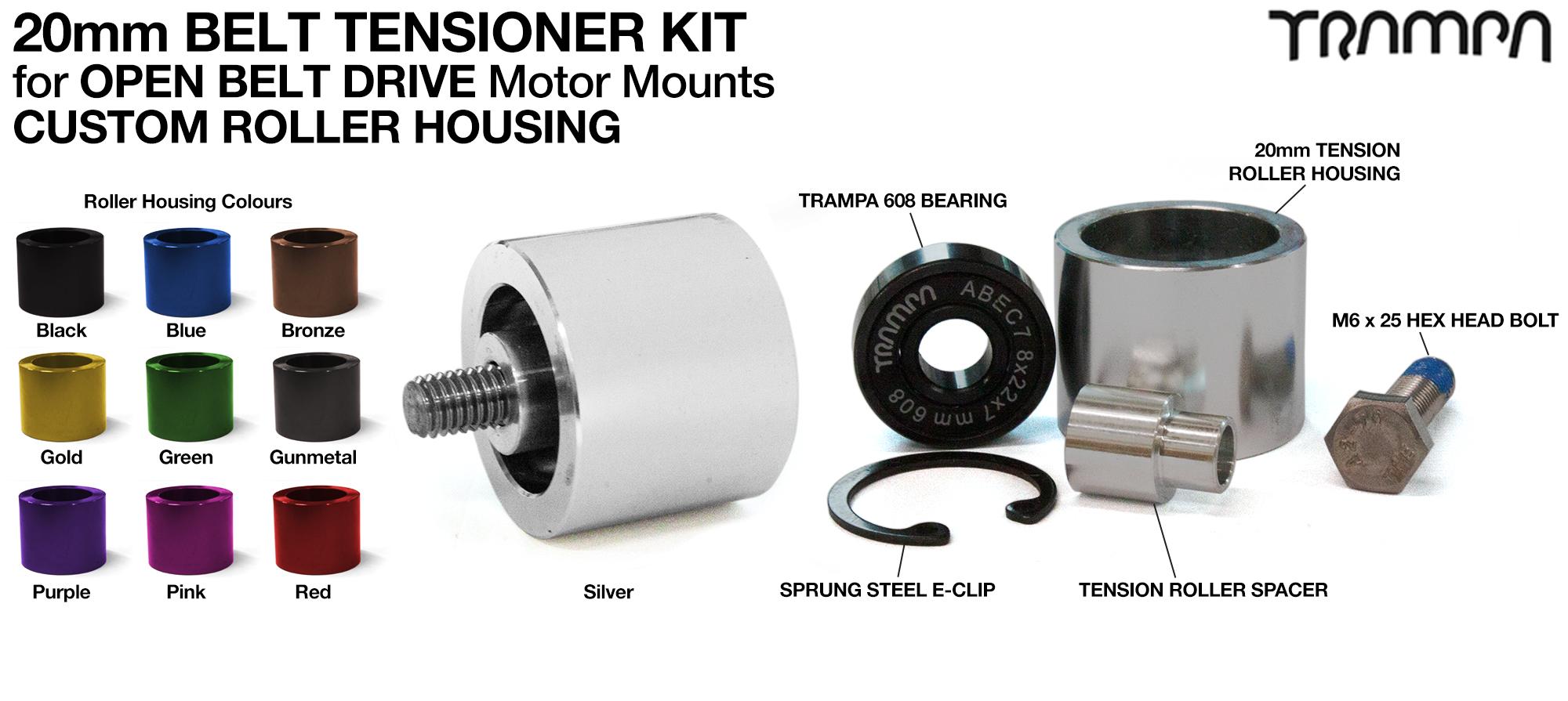 OPEN BELT DRIVE Belt Tensioning System for 20mm Belts - Roller Housing
