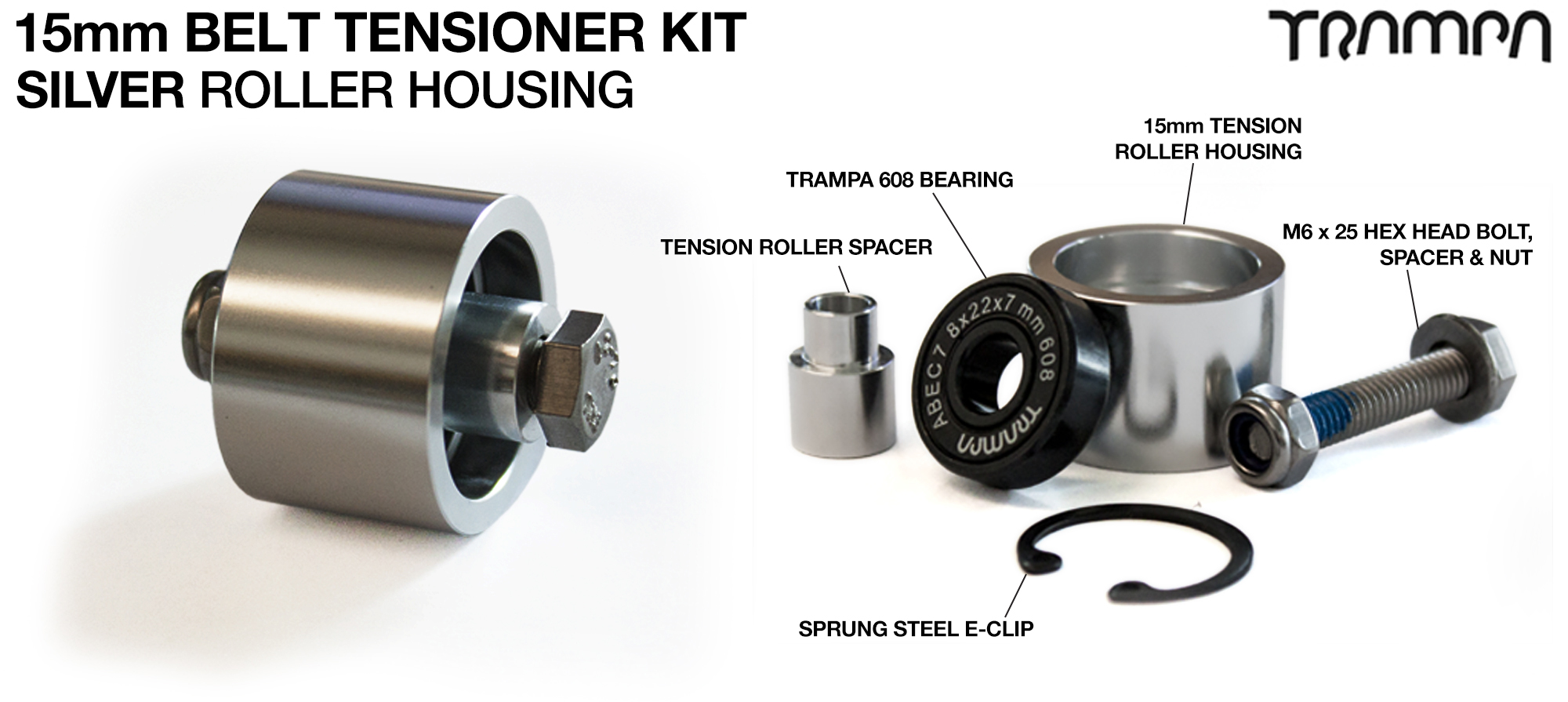OPEN BELT DRIVE Belt Tensioning System for 15mm Belts - SILVER