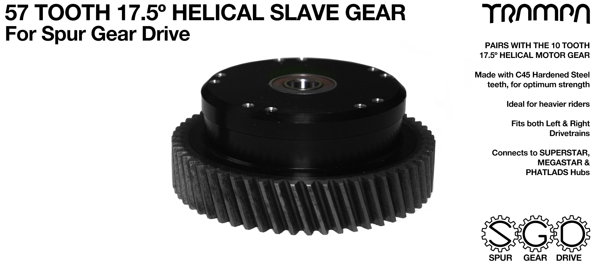 Spur Gear Drive 57 Tooth 17.5º HELICAL Slave Pulley - c45 Hardened Steel
