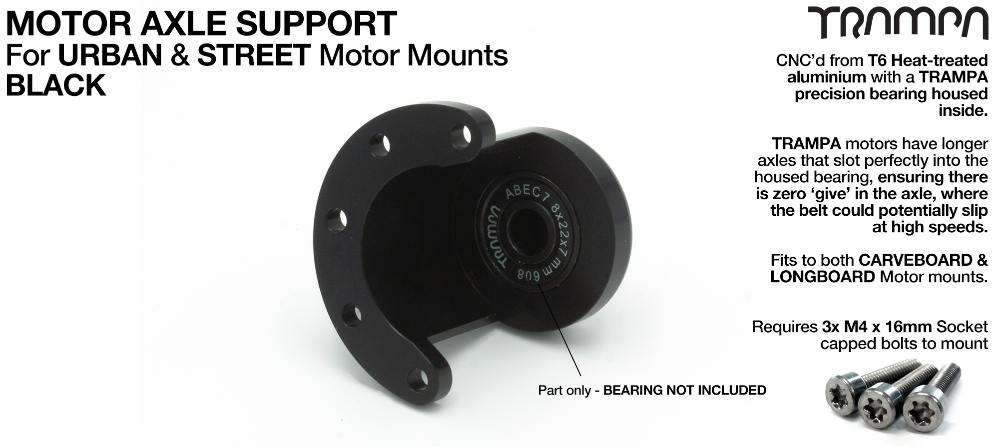 Motor Axle Support for Spring Truck Motor Mounts UNIVERSAL - BLACK