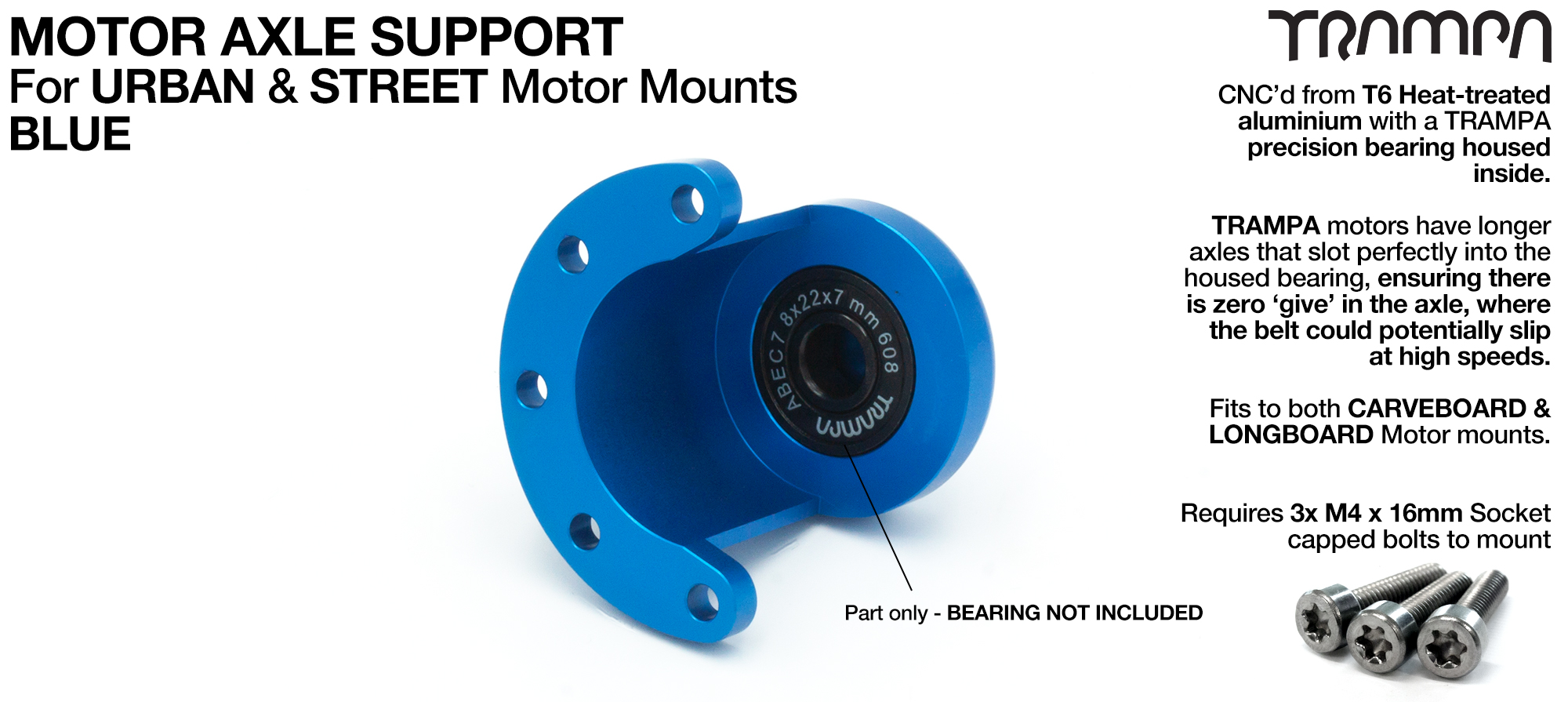Motor Axle Support for Spring Truck Motor Mounts UNIVERSAL - BLUE