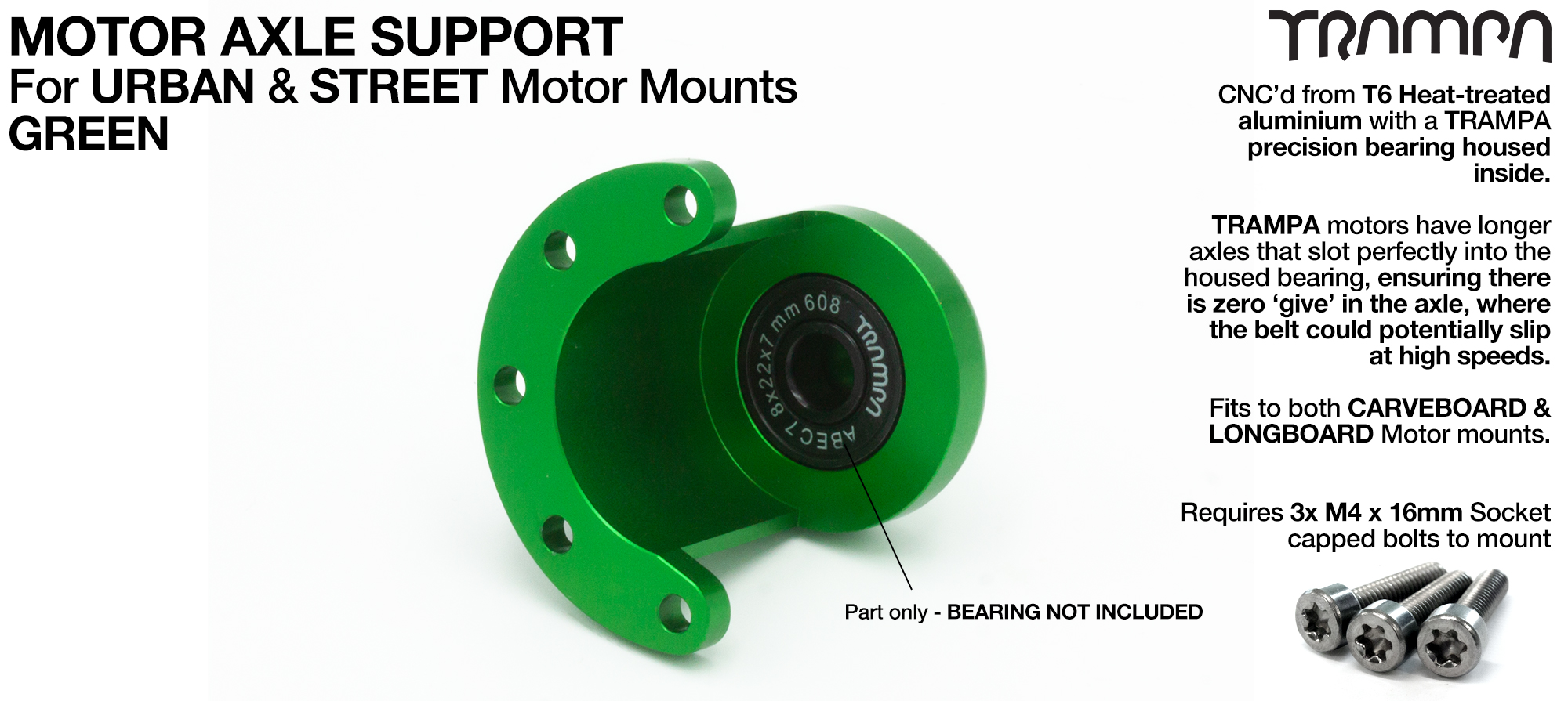 Motor Axle Support for Spring Truck Motor Mounts UNIVERSAL - GREEN
