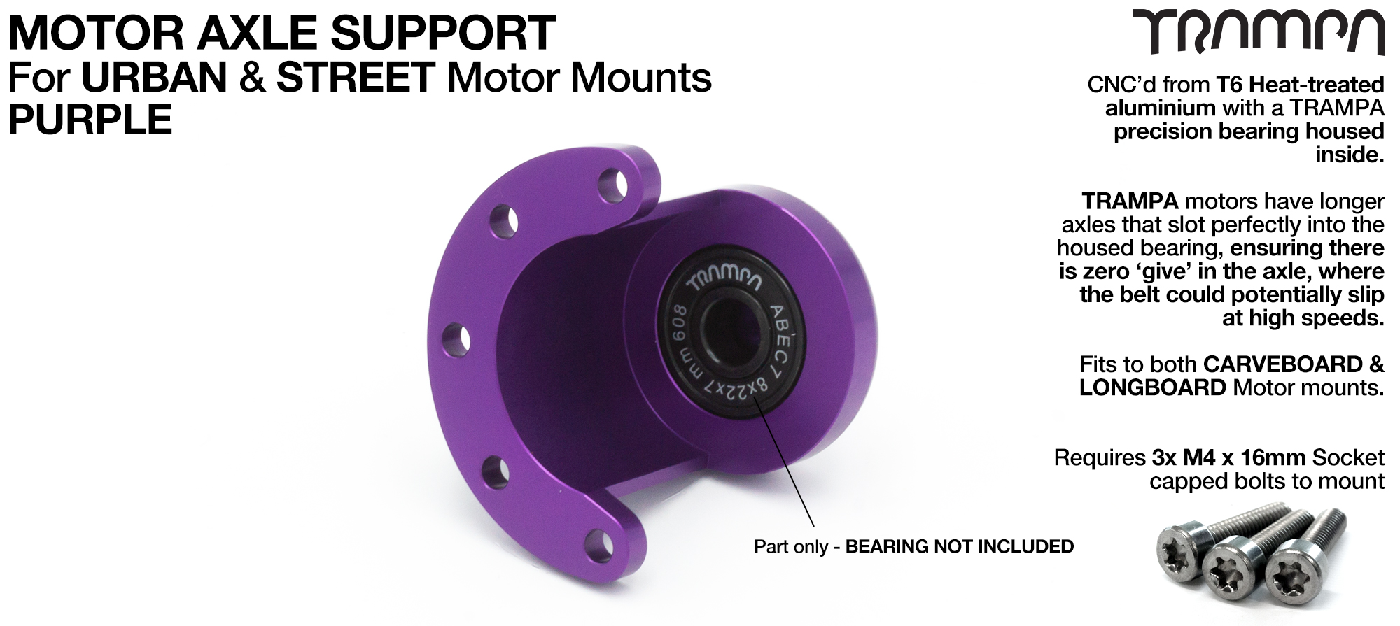 Motor Axle Support for Spring Truck Motor Mounts UNIVERSAL - PURPLE