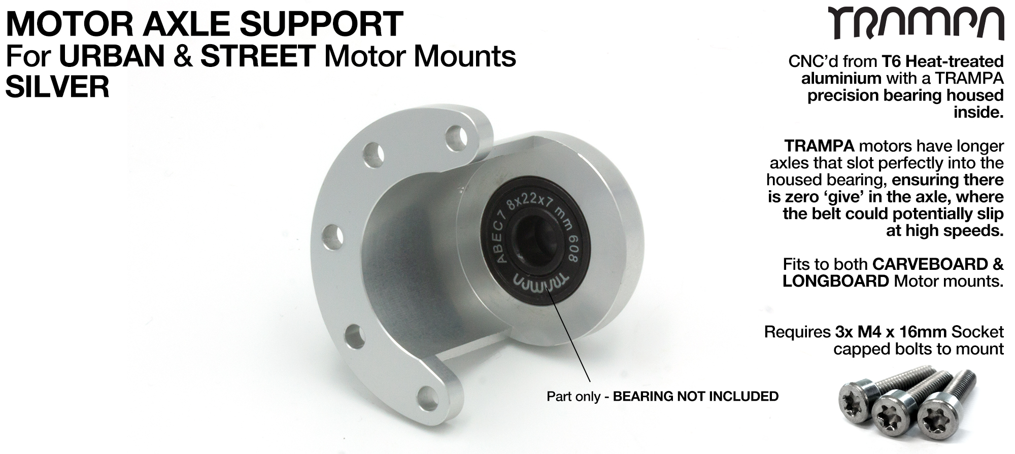 Motor Axle Support for Spring Truck Motor Mounts UNIVERSAL - SILVER
