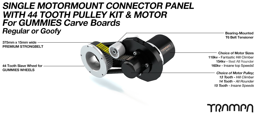 MkII GUMMIES CARVEBOARD Motormount Connector Panel & 44 Tooth Pulley Kit & Motor - SINGLE