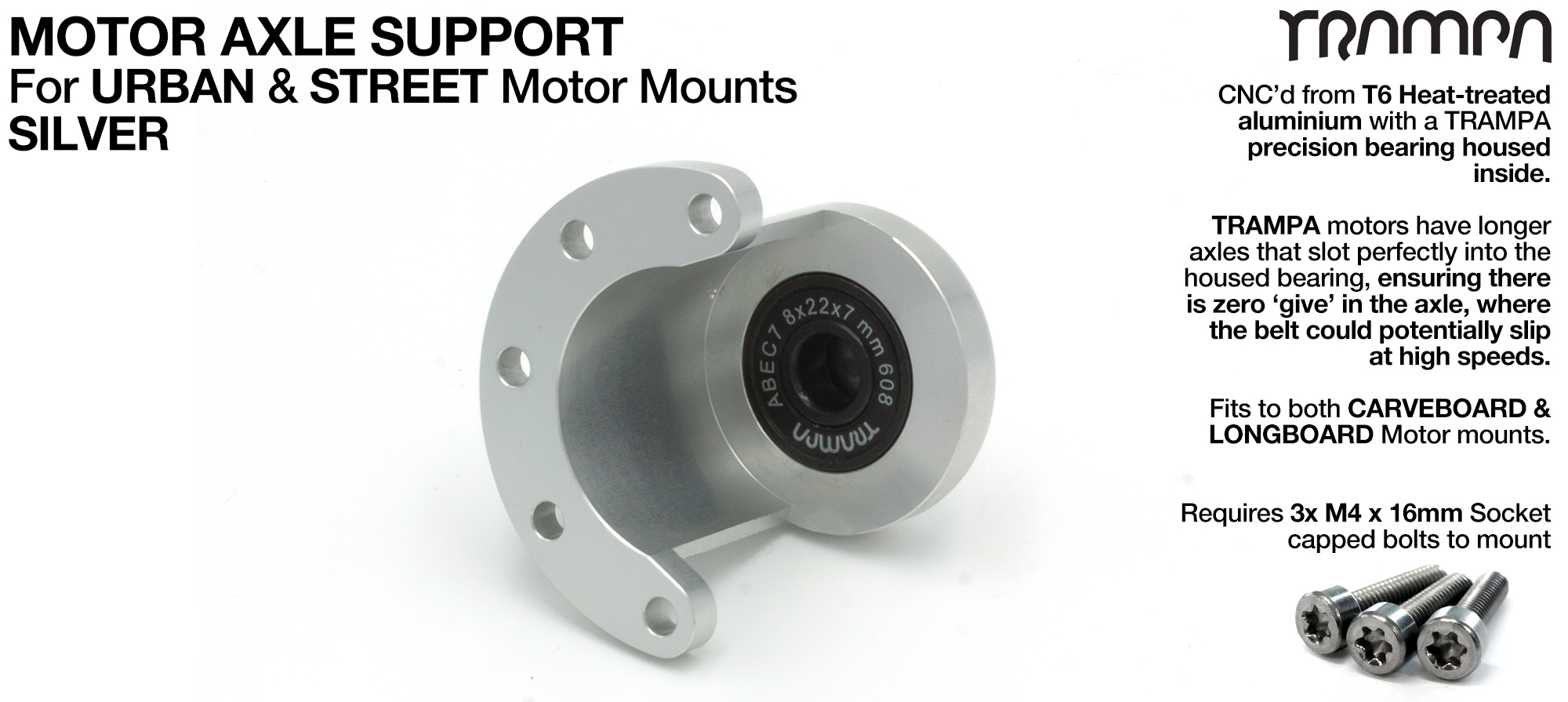 Motor Axle Support Housing with TRAMPA R608 8x22x7mm Bearing, C-Clip & Stainless Steel fixing Bolts for Mini Spring Truck MKII CARVE Motor Mounts UNIVERSAL - SILVER