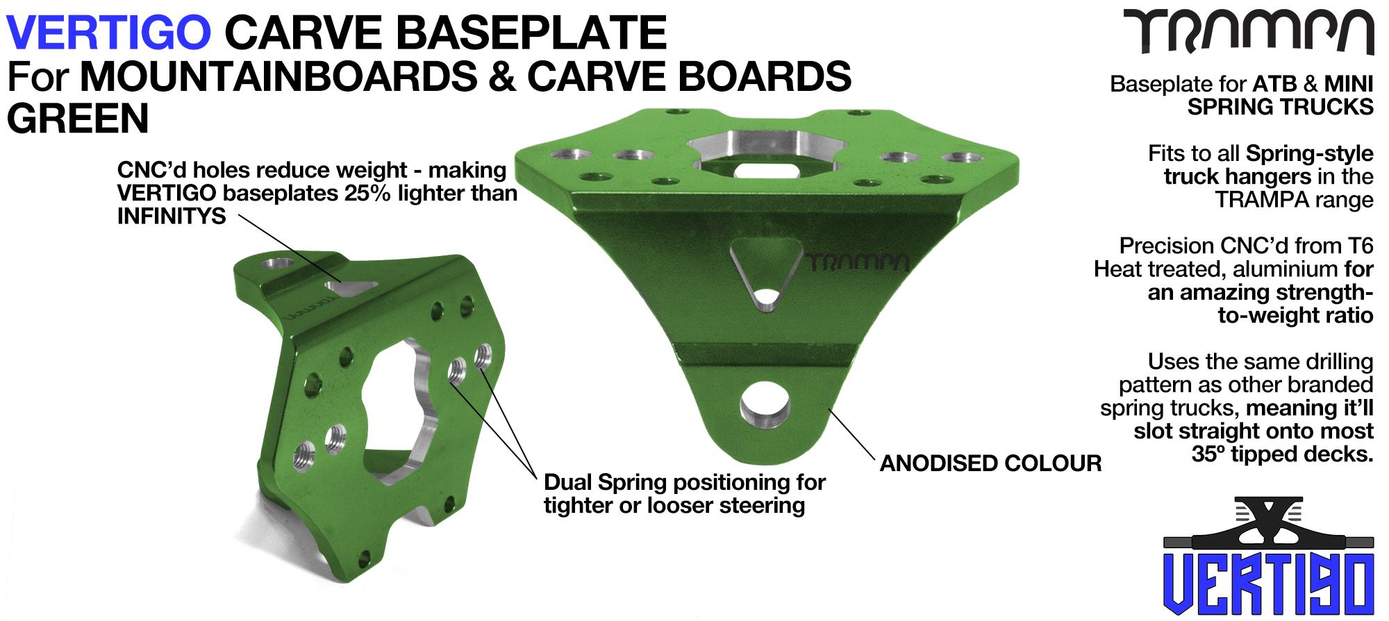 VERTIGO Baseplate GREEN - T6 Aluminium Anodised & CNC lightened - Black logo