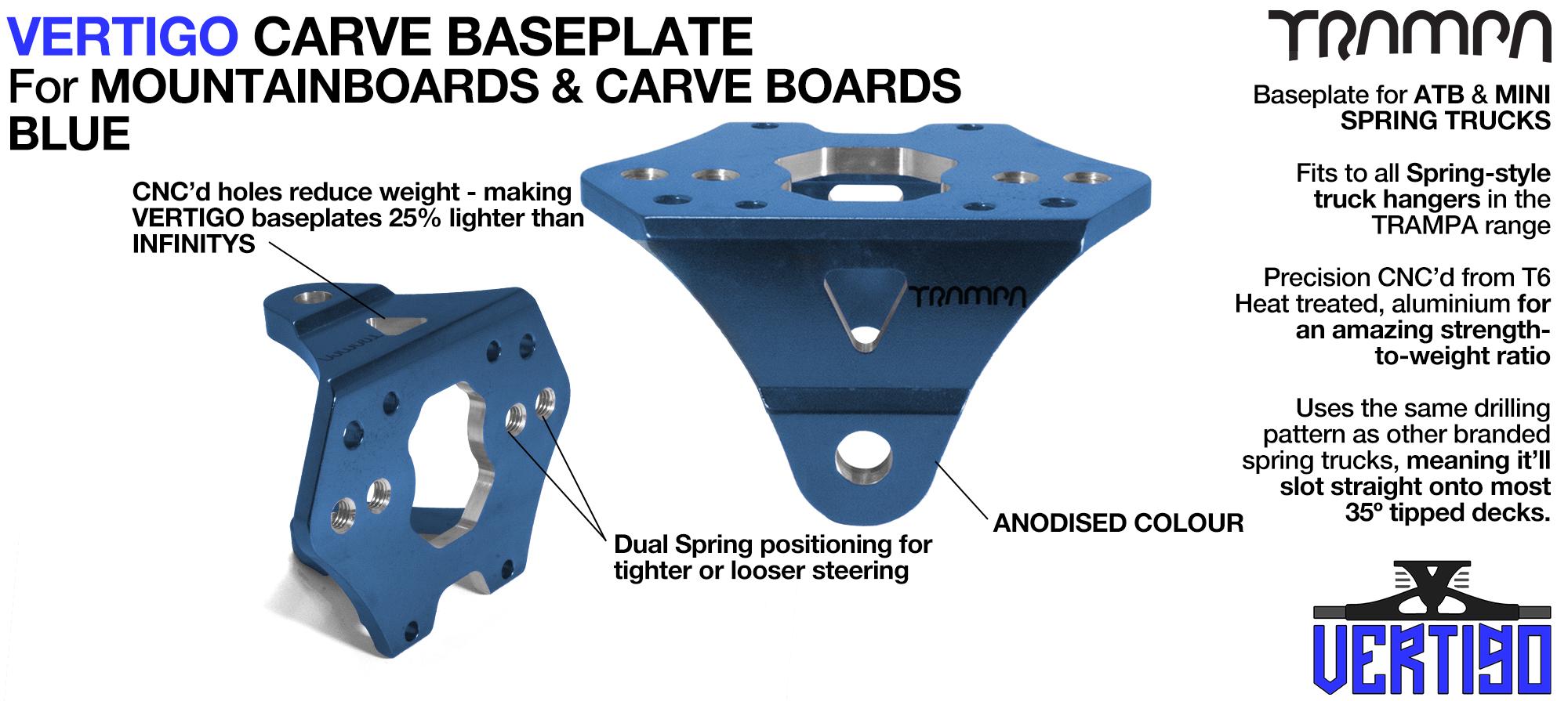 BLUE with BLACK logo VERTIGO Baseplate - Extruded T6 Aluminium & CNC precision Milled