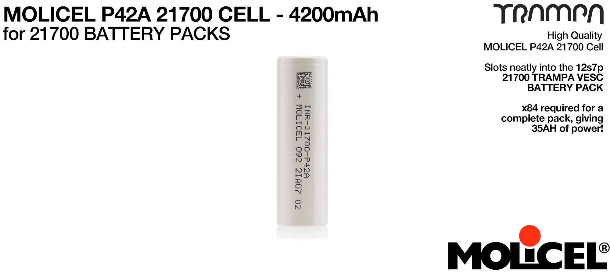 21700 Cells - MOLICEL P42A 4200mAh   - UK CUSTOMERS ONLY