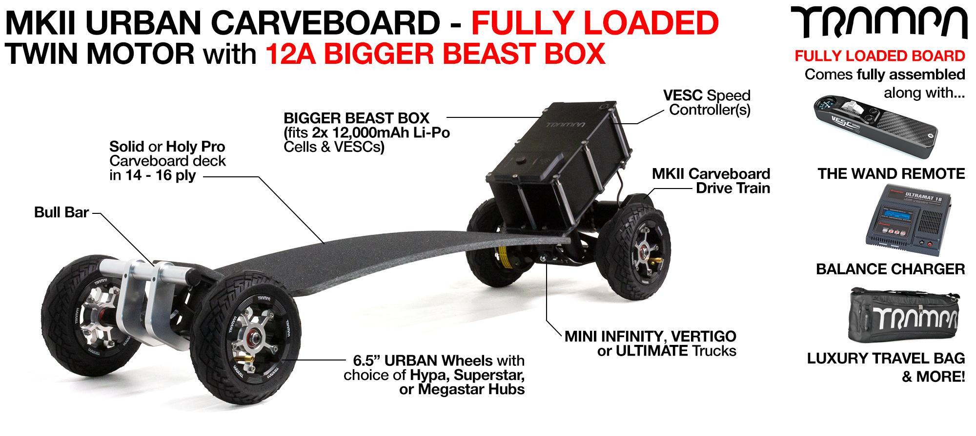 MkII TWIN 160Kv Motor TRAMPA Electric URBAN Carveboard with 16A BEAST Box, VESC HD-60T - Custom Build
