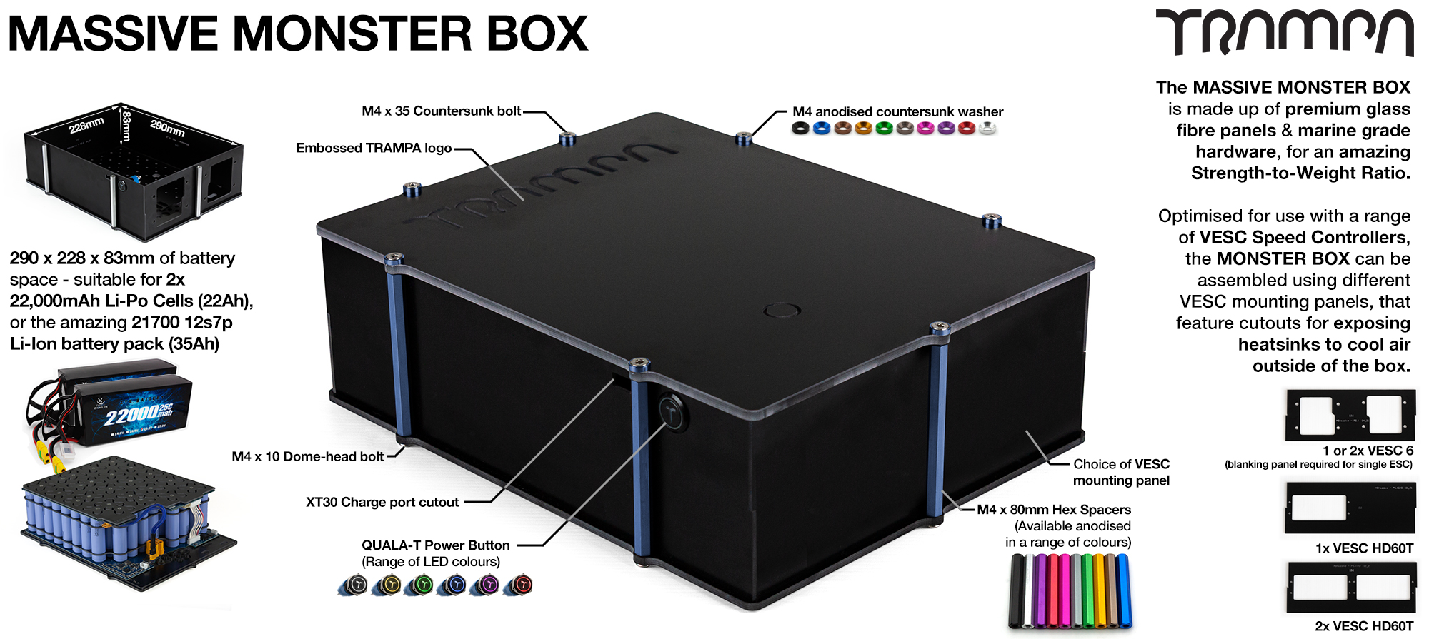 2WD MASSIVE MONSTER Box Capable of fitting 84x 21700 Li-Ion cells or 2x huge Li-Po Cells, with up to 2x VESC 6 or 1x HD-60T