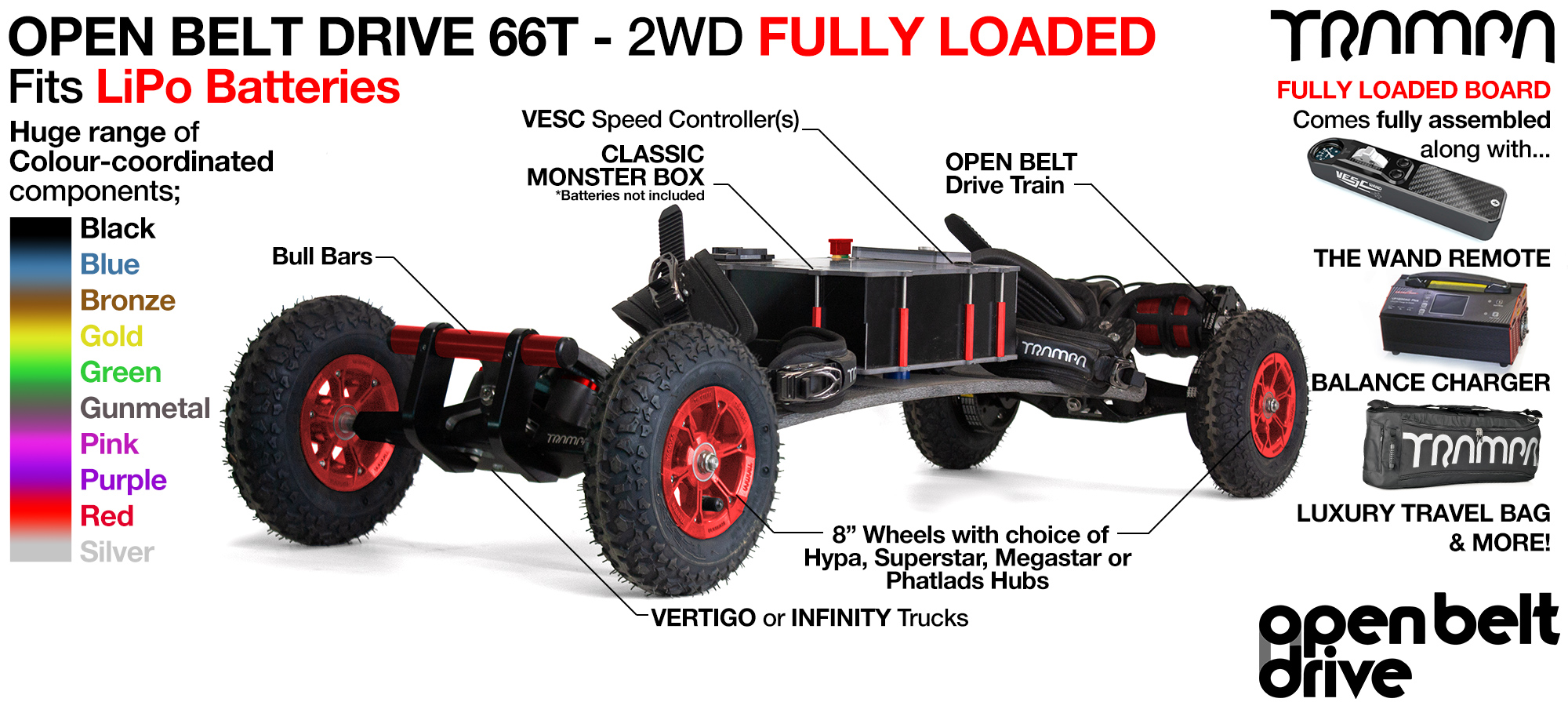 2WD 66T Open Belt Drive TRAMPA Electric Mountainboard with 8 Inch Wheels & 66 Tooth Pulleys - LOADED Li-Po