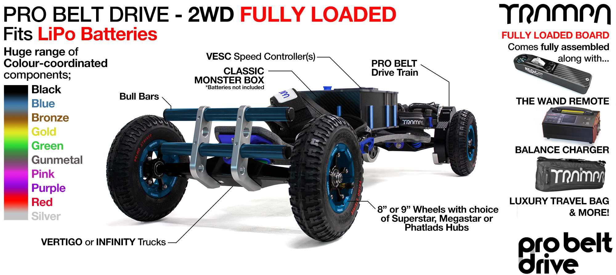 TRAMPA PRO Belt Drive Electric mountainboard FULLY LOADED for Li-Po Cells with The WAND, TWIN 12s ULTRA POWER Charger & Bull Bars, shipped Assembled In a Luxury Bag as standard!!