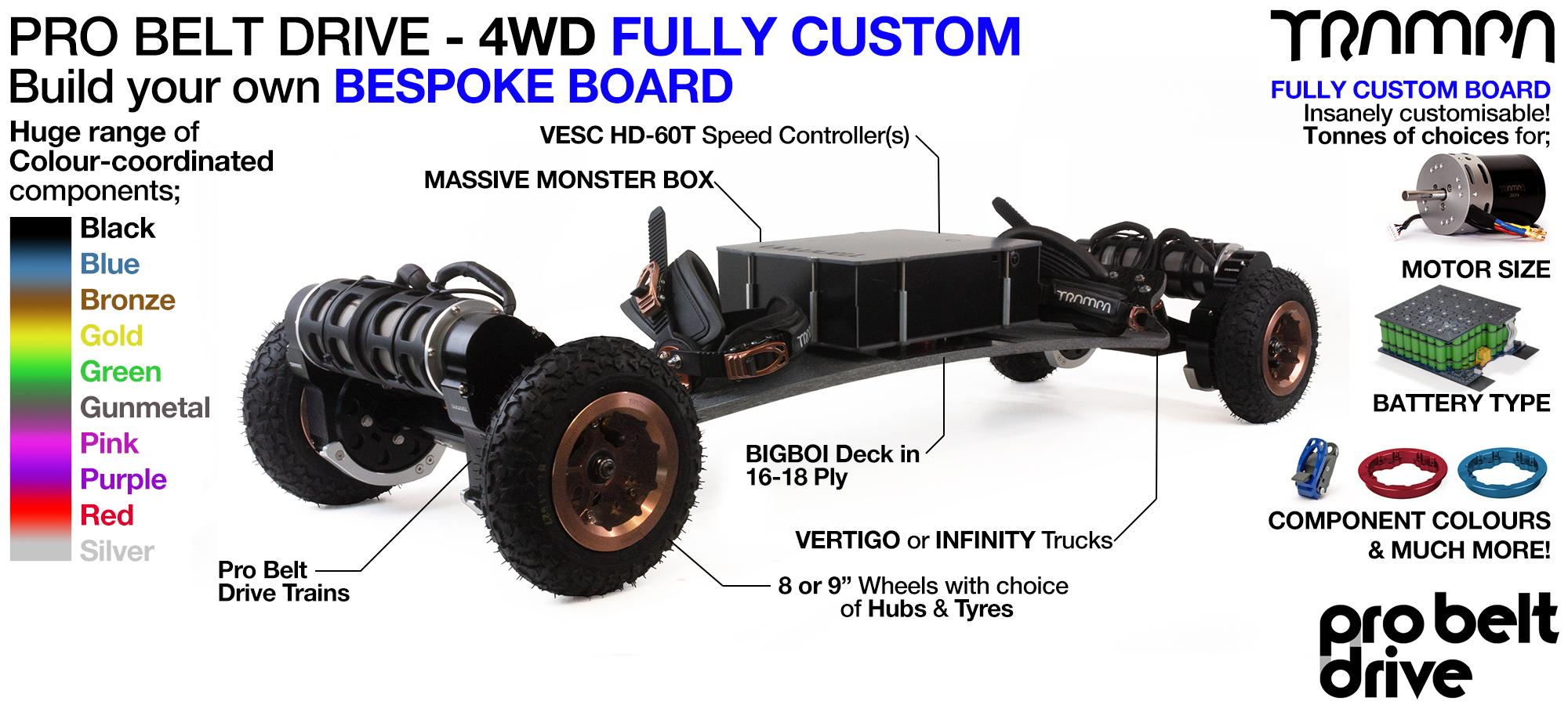 4WD PRO BELT DRIVE BIGBOI Electric TRAMPA Mountainboard - CUSTOM