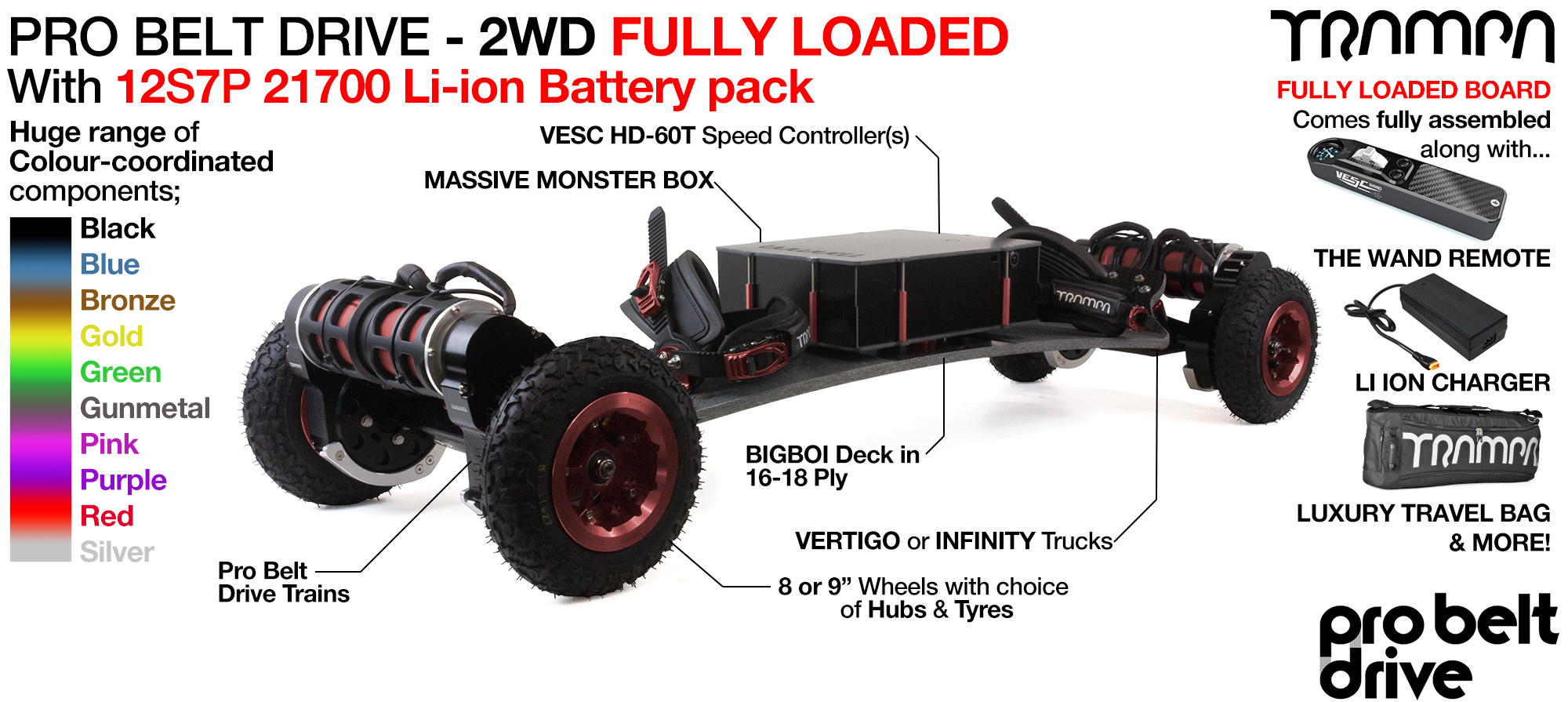 4WD PRO BELT DRIVE BIGBOI & Battery pack TRAMPA Electric Mountainboard - FULLY LOADED