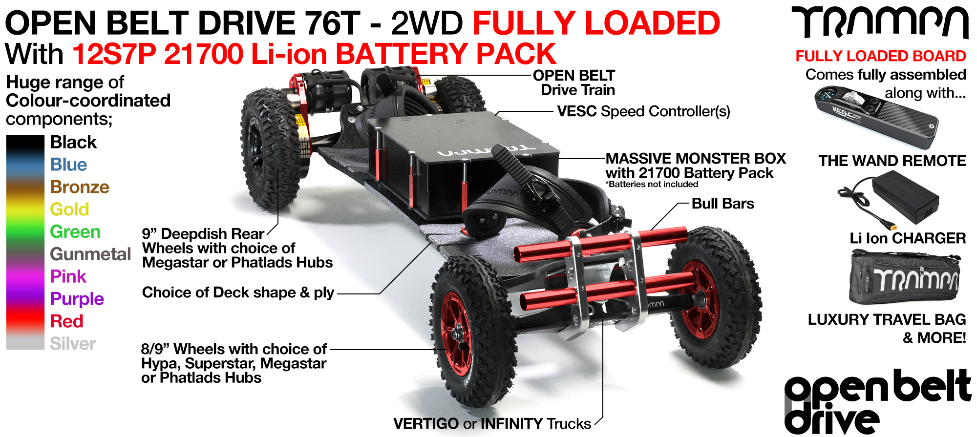 2WD 66T Open Belt Drive TRAMPA Electric Mountainboard with 9Inch Wheels & 76 Tooth Pulleys - LOADED 21700 Cell Pack