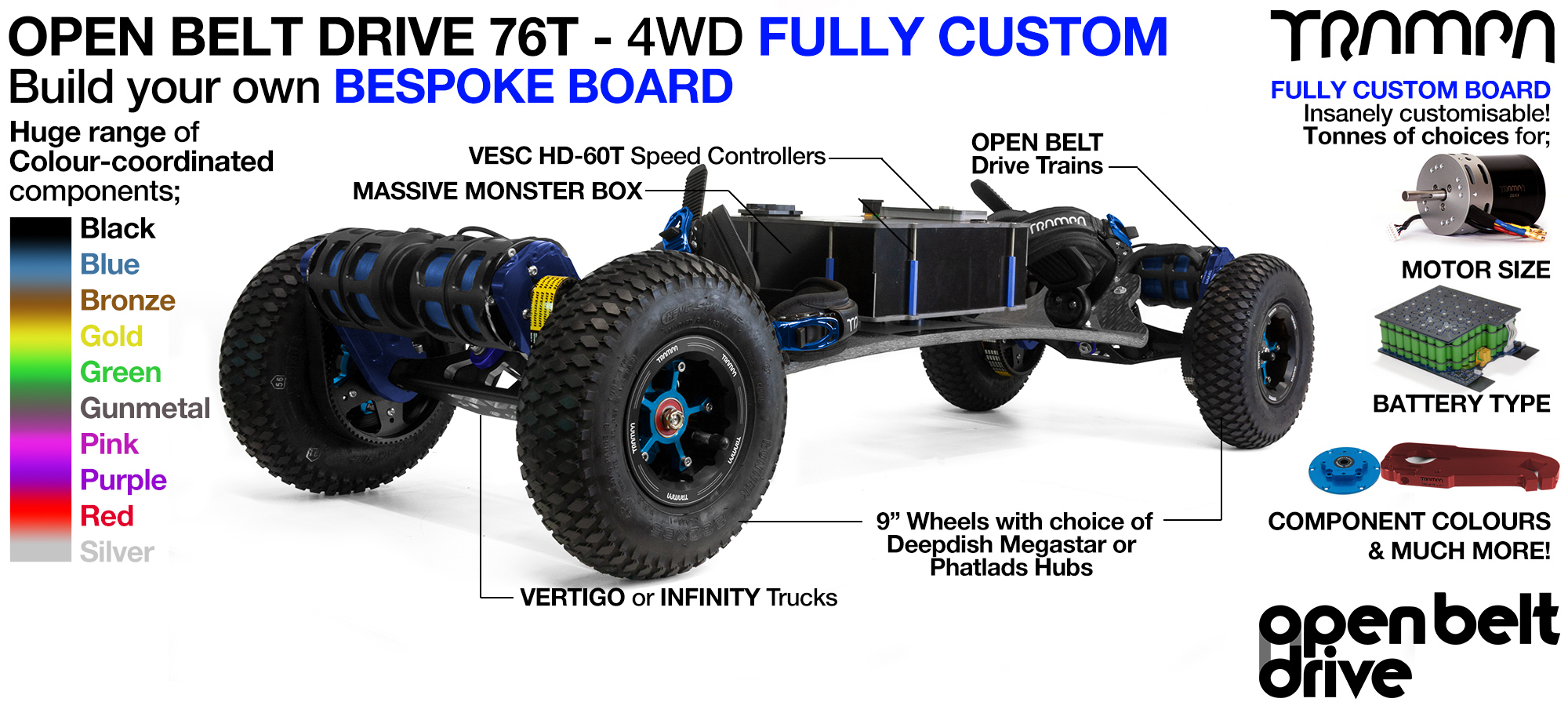 4WD 66T Open Belt Drive TRAMPA Electric Mountainboard with 9Inch Wheels & 76 Tooth Pulleys - CUSTOM