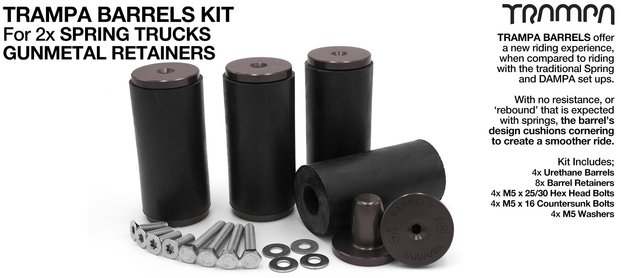 TRAMPA BARRELS Complete DECK Kit - GUNMETAL