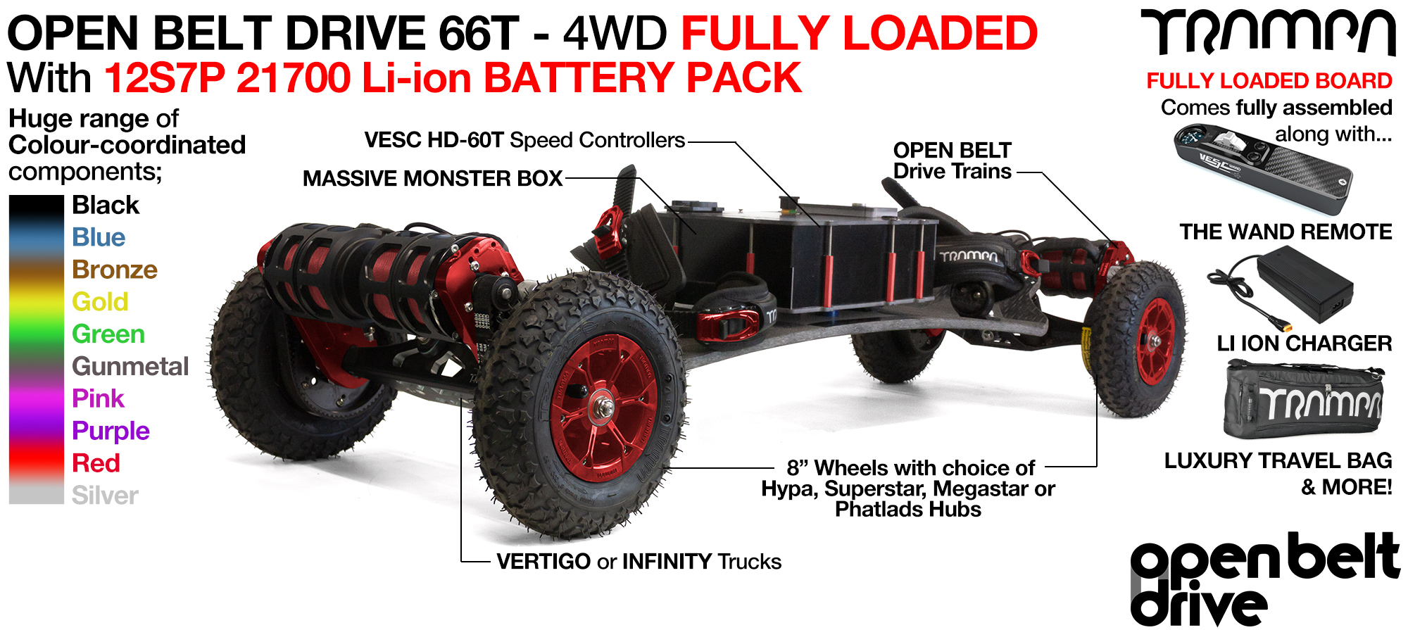 4WD 66T Open Belt Drive TRAMPA Electric Mountainboard with 8 Inch Wheels & 66 Tooth Pulleys - LOADED