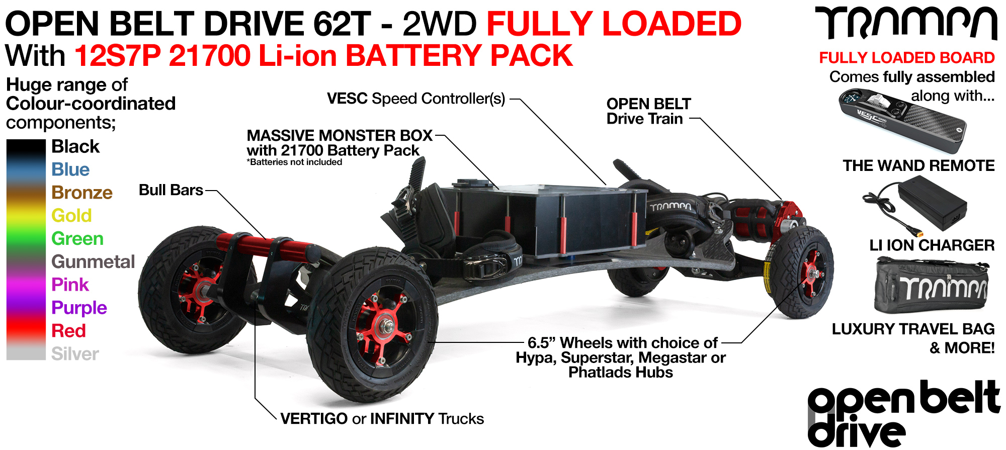 2WD 66T Open Belt Drive TRAMPA Electric Mountainboard with 6 Inch URBAN TREADs Wheels & 62 Tooth Pulleys - LOADED 21700 CELL Pack