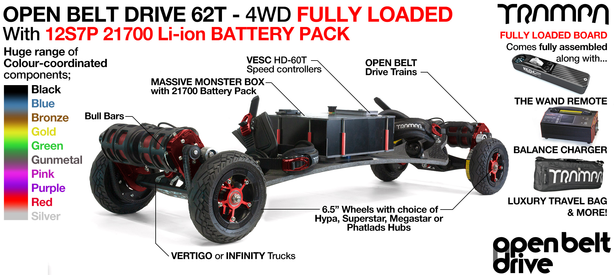 4WD 66T Open Belt Drive TRAMPA Electric Mountainboard with 6 Inch URBAN TREADs Wheels & 62 Tooth Pulleys - LOADED