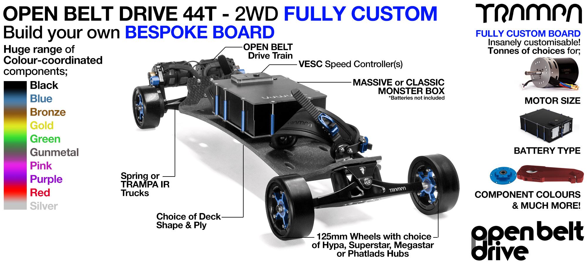 2WD 66T Open Belt Drive TRAMPA Electric Mountainboard with 125mm GUMMIES Giant Longboard Wheels & 44 Tooth Pulleys - CUSTOM