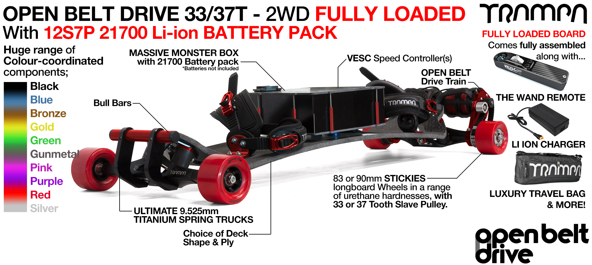 2WD 66T Open Belt Drive TRAMPA E-MTB with 83 or 90mm STICKIES Wheels & 33/37 Tooth Pulleys - LOADED 21700 CELL Pack
