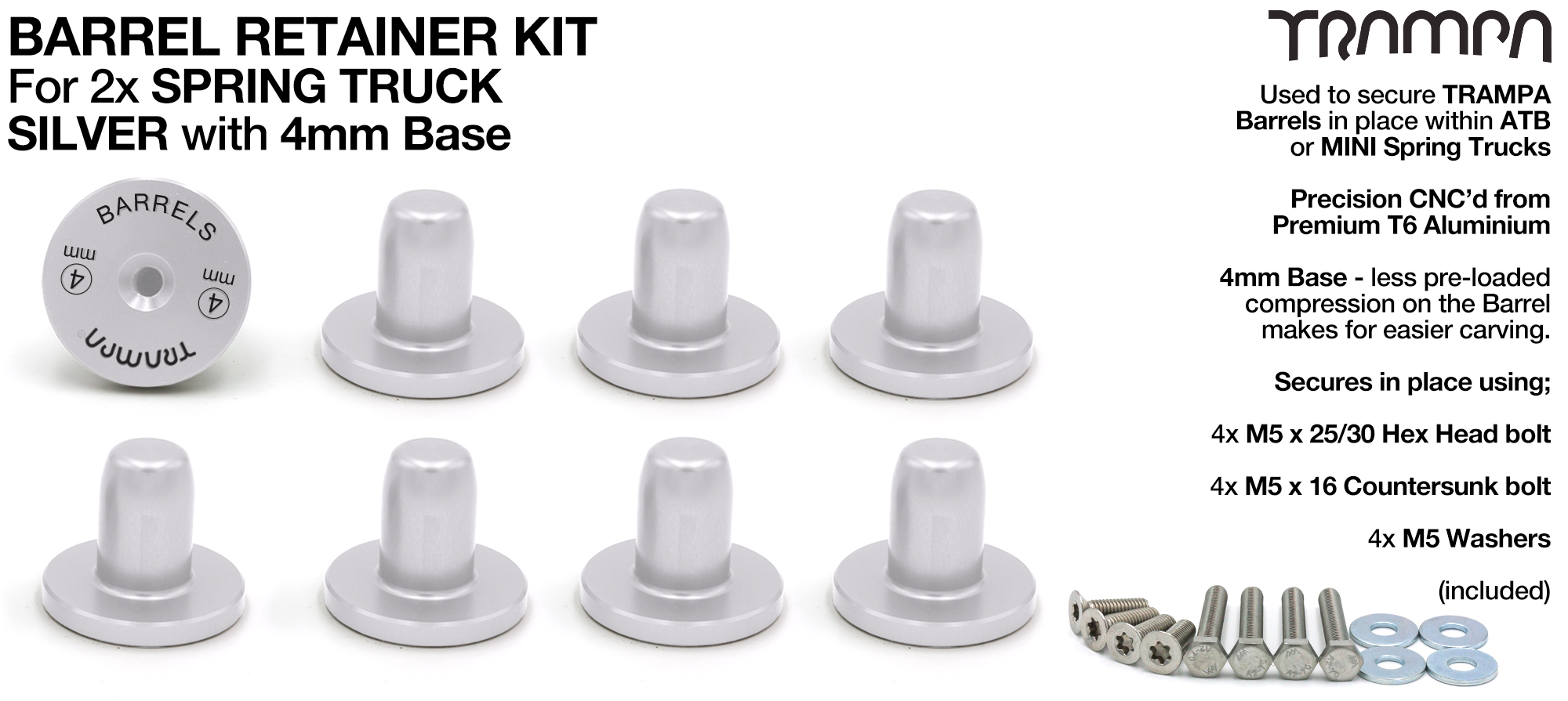 Barrel Retainers x8 with 4mm Base - SILVER