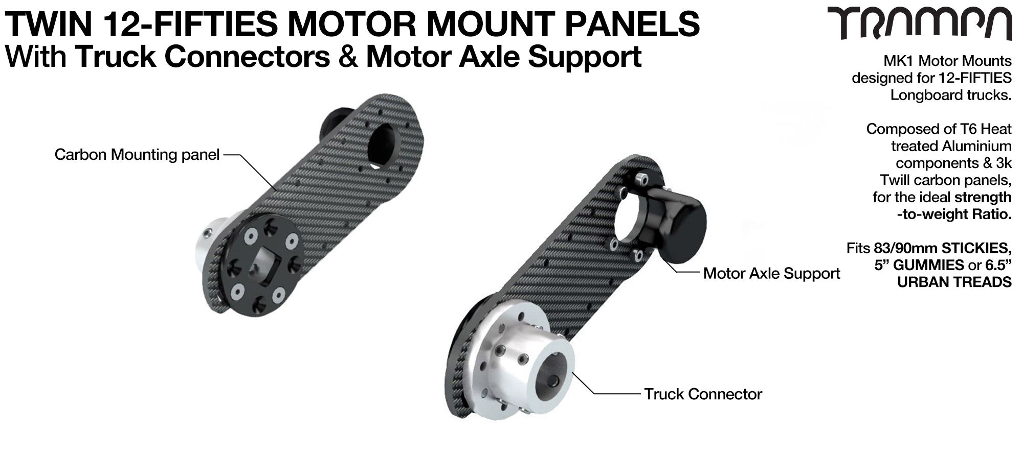 Original 12Fifties Truck Motor Mount Connector & Carbon Panel with Motor Axle support - TWIN