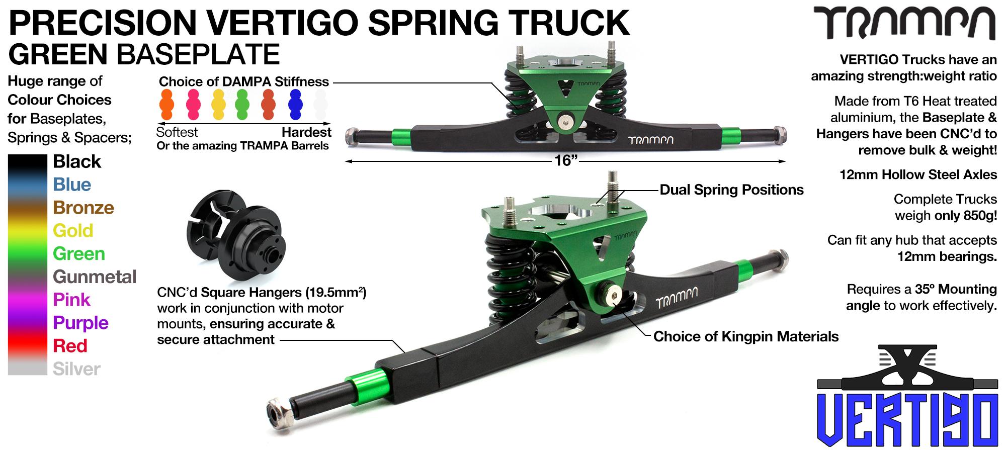 Vertigo Truck - 12mm HOLLOW Axles with GUNMETAL CNC baseplate Steel Kingpin TRAMPA Spring Trucks