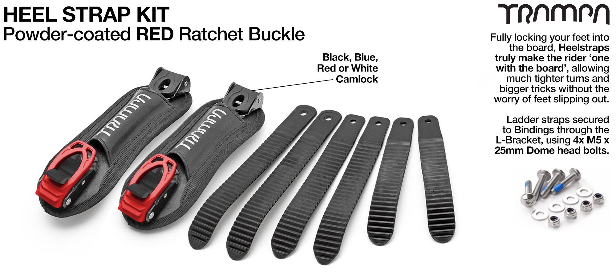 Heel Straps with RED Ratchets