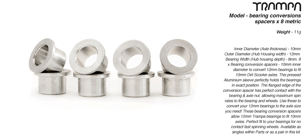 Bearing conversion spacers - fits 12mm Bearings to 10mm Scooter Axles x 8