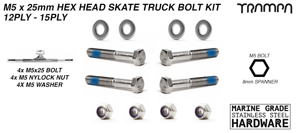 M5 x 25mm Marne Grade Stainless Steel SKATE Truck Bolt kit - 12/15ply Decks BK02